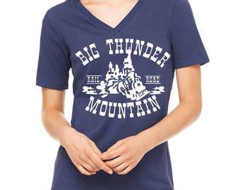 Ladies Relaxed V neck Big Thunder Mountain Shirt Disney Mountain Shirt Disneyland Shirt Disney World Shirt Disney Shirt Magic Kingdom