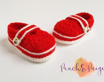 Crochet Cherry Mary Janes. Babyshower Gift, Photography Prop. 3-6 months. rockabilly.