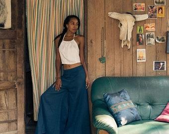 Women Wide Leg Organic Cotton Palazzo Pants in Blue, Fair Trade by Tropic Bliss