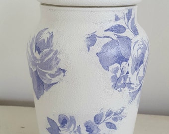 Glass Storage Jar, Decoupage Vase, Gift Idea for Mum, Shabby Chic Decor, Free Shipping