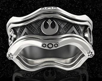 Star wars ring, star wars wedding ring, geek wedding ring, star wars jewelry, sci fi ring, nerd ring, geek silver ring