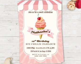Ice Cream Parlour Party, Birthday Party Printable Invitation Card, Ice cream Birthday Invitation, Circus Party invitation, Ice cream party