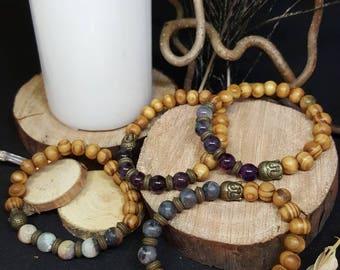 Buddha bracelet & Wood - elastic bracelet - wood - amazonite - labradorite - agate - Jasper - turquoise - jade - zen - gypsy - yoga