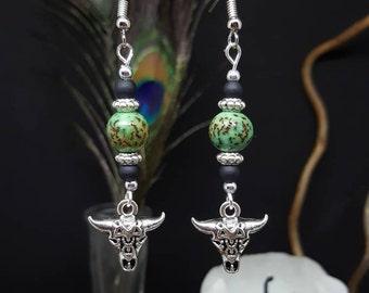 Green Bulls - Palm seed earrings - skull Buffalo - country - western - cowgirl - hippie - Bohemian - longhorn - gypsy