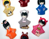 Kokeshi Doll Patches, Jap...
