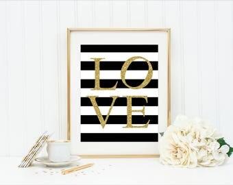 LOVE Glitter Printable   INSTANT DOWNLOAD, Gold Office Decor, Bedroom  Decor, Love Print