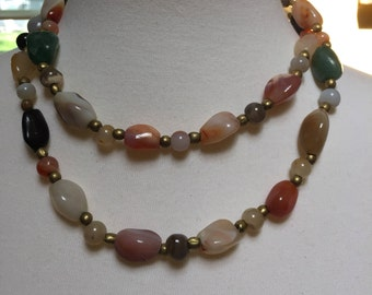 Multi-Colored Agate Necklace 36""