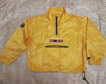 FUBU jacket, vintage 1990s nylon jacket, hip hop windbreaker, 90s hip-hop clothing, gangsta rap, yellow color Fubu jersey, size XS