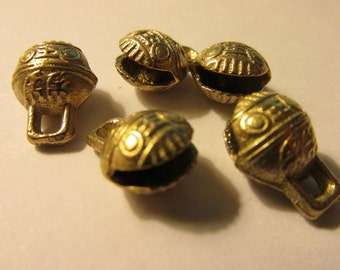 Mini Brass Temple Bell Charms, 10mm, Set of 5