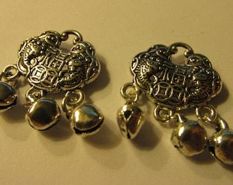 Tibetan Silver Chinese Longevity Lock Charm-Pendant, 17mm, Set of 2