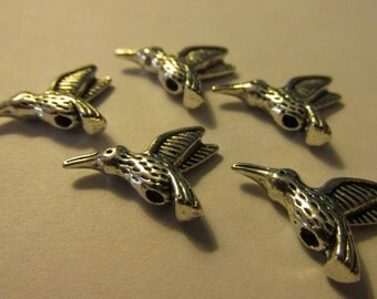 Silver Tone Pewter Metal Hummingbird Bead Charms, 16mm, Set of 5