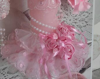 Shabby chic pink candle chandelier