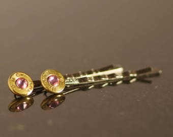 9mm Bullet Barrettes with Light Rose Swarovski Crystal