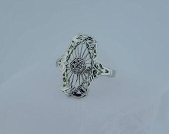 14K WG diamond fillagree Ring marked trubrite retro style, Size 6