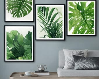 Charmant Tropical Leaves Prints Set Of 4, Tropical Wall Art Palm, Banana,Monstera  Leave