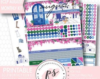 August 2017 Monthly View Kit Printable Planner Stickers | Magical Mykonos (for use with ECLP) | JPG/PDF/Silhouette Cut File