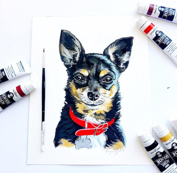 Custom Pet Portrait, Dog Painting, Cat Painting Gouache Realistic Painted Pet Portrait, Custom Gift Idea, Unique Gift, Christmas Gift