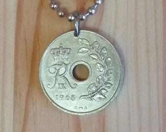 Denmark Coin Necklace, 25 Ore Denmark Coin Pendant, Vintage Danish Coin Pendant Necklace.