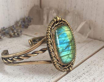 Antique brass labradorite statement cuff - blue green labradorite gemstone, adjustable, twisted wire and granular accents, gifts for her