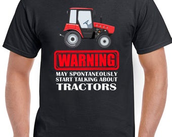 Warning May Spontaneously Start Talking About Tractors Mens Funny Farmer T-Shirt 1388