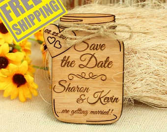 FREE SHIPPING * Mason Jar save the date magnet wedding save the date wood save the date wood wedding save the date rustic unique