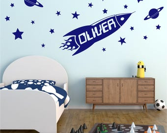 ROCKET Personalised ANY NAME Space Planet Universe Stars Boys Childrens Bedroom Decor Matt Vinyl Wall Art Sticker Decal 20 colours/Two Sizes