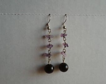 Purple Rock Dangle Earrings