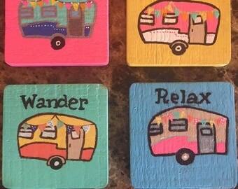 Hand Painted Vintage Camper Coasters (Set of 4)