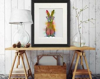 Bunny gift - Rabbit 1 print - Rabbit decor Woodland animals Bunny rabbit Nursery rabbit Bunny print Woodland nursery art UK seller UK shop