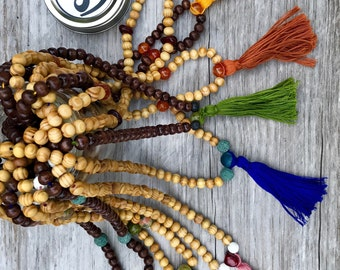 114 Beaded Mala, Tassel Necklace, Buddhist Jewelry, Prayer Beads, tassel, Mala Necklace, mala pouch