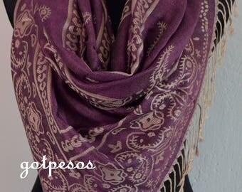 Beautiful multicolor Violet Pashmina Scarf, Scarf for Women, Violet Paisley Pashmina Shawl