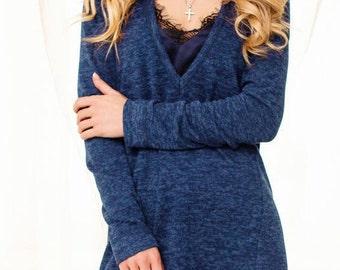 Set Dress and cardigan Contrast dress with a warm cardigan Dark blue midi dress with cardigan Long sleeve women's gown Boho knee dress