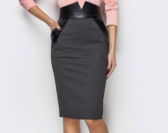 Pencil skirt pockets Pencil skirt for women Length knee skirt  Black tight skirt high waist Knee hobble-skirt Black women skirt pockets