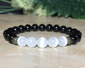 8mm Selenite Bracelet, Black Tourmaline Bracelet, Protection Bracelet, Healing Crystal, Aura Cleansing, Peace, Gift For Her, Gift For Him