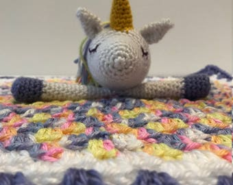 Crochet Rainbow Unicorn Baby Lovey Blanket