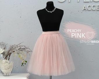 New! 66 Peachy Pink Tutu Skirt Casual Women's, Tulle Skirt Bridal, Princess Women Tulle Skirt, Tulle Skirt, Wedding Pink Tulle Skirt
