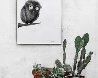 Funny owl illustration, decor, pencil drawing, wall prints, home decor, illustration print, charcoal drawing, wall art prints, wall prints