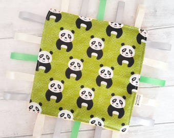 crinkle taggie - Baby Comforter - taggie blanket - cute panda - Waldorf sensory toy, minky lovey - security blanket - development taggy - UK