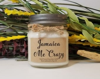 Aromatherapy Candles - 8oz Soy Candles Handmade - Citrus Candle - Coworker Gift - Bridal Shower - Birthday Gift for Her - Jamaica Me Crazy