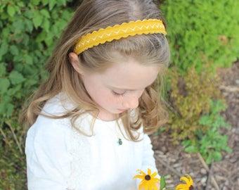 Merino Wool Felt Headband - Ochre / Embroidered Headband / Girl's Fashion / Hair Accessories / Mommy and Me