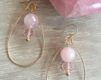 Rose Quartz Earrings, Hoop Earrings, Rustic Elegance, Boho Chic, Gold Filled