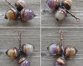 Pendant with 3 lampwork glass acorns and electroformed branch
