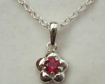 Genuine SOLID 925 Sterling Silver July Birthstone Daisy Ruby Pendant