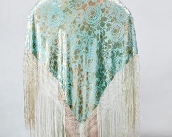 Glorious 1920s Devore Burn Out Silk Velvet Art Deco Shawl Aqua Green Long Fringe Antique 20s OOAK