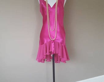 S / Val Mode / Hot Pink Gown / Nightgown / Vintage Lingerie / Small