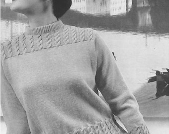 Vintage Women's Cable Sweater Knitting Pattern PDF 1958