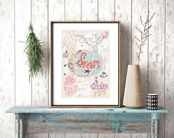 Pretty Art Print, Illustration, Dream Print, Whimsical Print, Inspirational Print, Boho Art Print, Wall Decor, Bird Print, Dream Magic