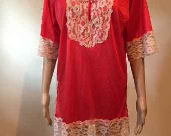 60's Erica Loren PJ Top red with white lace.
