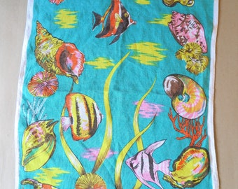 Exotic Shells and Fish Tea Towel . All Pure Linen. Made in Ireland by Ulster. Vintage Tropical Bar Towel. Imagine a Coral Reef in Mustique.
