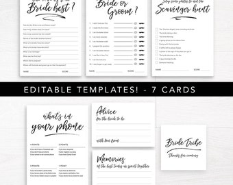 Printable Bachelorette Party Games / Editable Bridal Shower Games / Hens Night Games Instant Download / Bachelorette Party Game Pack DIY